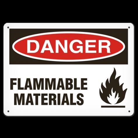 """DANGER Flammable Materials (10""""x14"""")Rigid Plastic"""