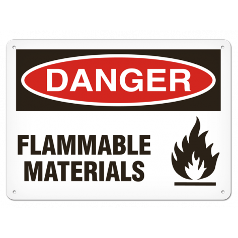 "DANGER Flammable Materials (7""x10"") Rigid Plastic"