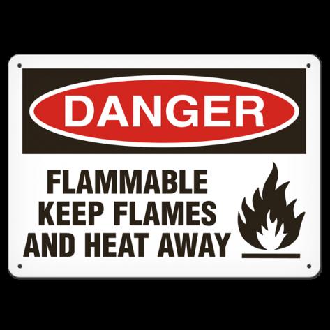"DANGER Flammable Keep Flames and Heat Away(10""x14"") Self Adhesive"