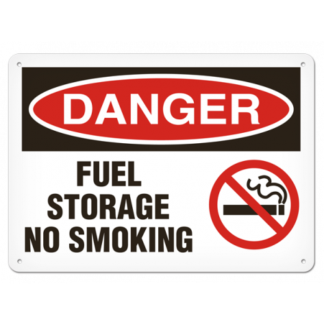 "DANGER Fuel Storage No Smoking (7""x10"") Rigid Plastic"