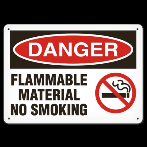 """DANGER Flammable Materials No Smoking (10""""x14"""") Self Adhesive"""