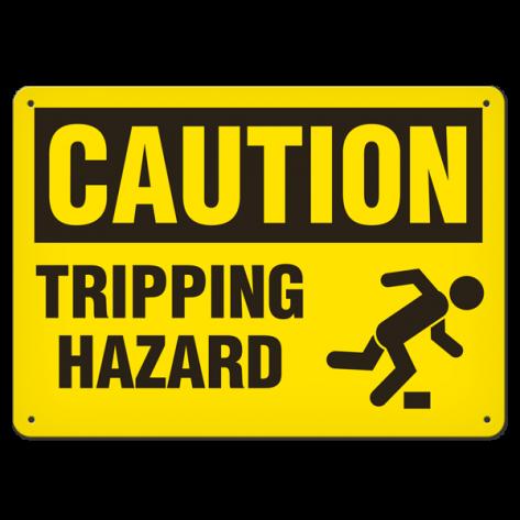 "CAUTION Tripping Hazard (10""x14"") Self Adhesive"