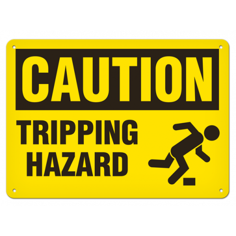 "CAUTION Tripping Hazard (7""x10"") Rigid Plastic"