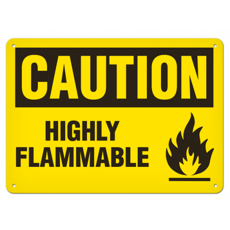 """CAUTION Highly Flammable (7""""x10"""") Self Adhesive"""