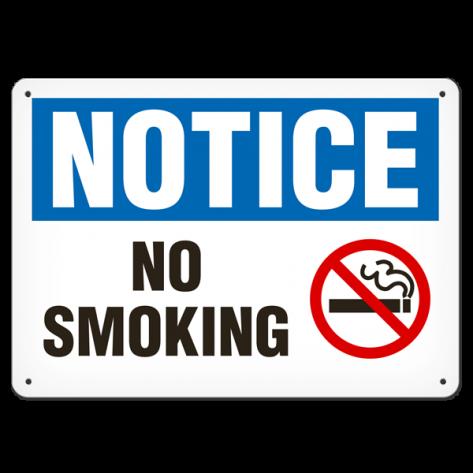 """NOTICE No Smoking (7""""x10"""") Rigid Plastic"""