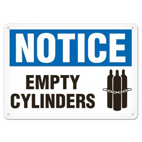"NOTICE Empty Cylinders (10""x14"") Rigid Plastic"