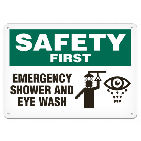 "SAFETY First Emergencey Shower and Eye Wash (10""x14"") Self Adhesive"