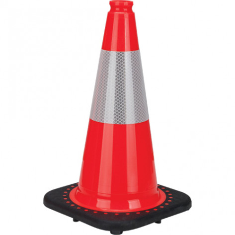 "Premium Traffic Cone, 18"", Orange, 6"" Reflective Collar"