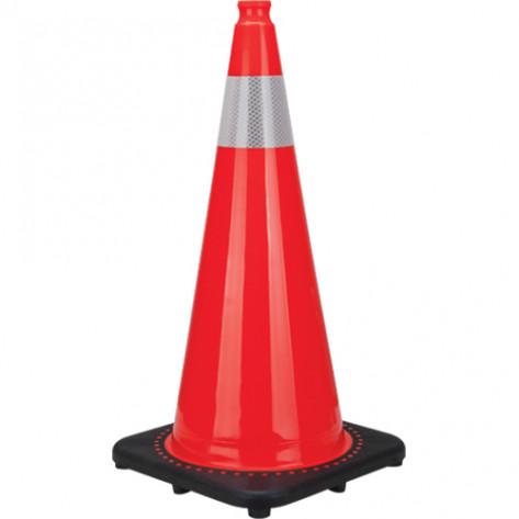 "Premium Traffic Cone, 28"", Orange, 4"" Reflective Collar"