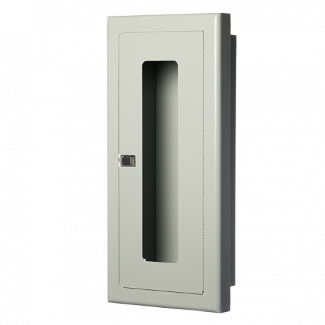 10LB SEMI-RECESSED EXTINGUISHER CABINET-GREY-FIRE RATED