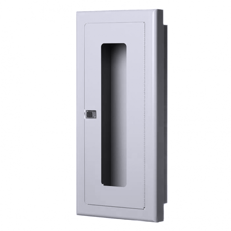 10LB SEMI-RECESSED EXTINGUISHER CABINET-STAINLESS STEEL-FIRE RATED
