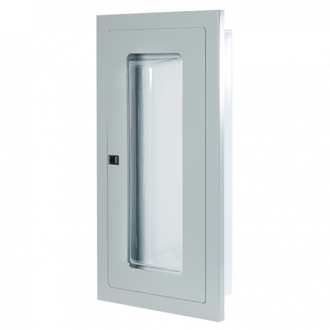 2.5 Gal/ 20lb SEMI-RECESSED EXTINGUISHER CABINET WITH BUBBLE CANOPY-GREY FIRE RATED