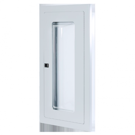 2.5 Gal/ 20lb SEMI-RECESSED EXTINGUISHER CABINET WITH BUBBLE CANOPY-WHITE -FIRE RATED