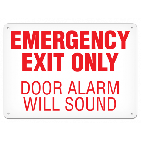"""Emergency Exit Only Door Alarm Will Sound (10""""x14"""") Self Adhesive"""