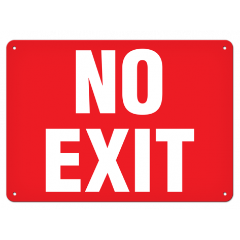 "No Exit (10""x14"") Self Adhesive"
