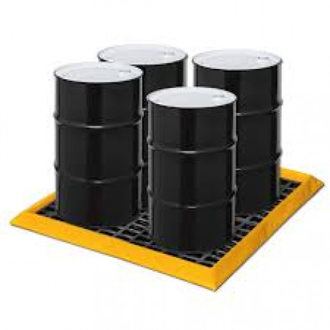 "30 Gal 4-Drum SpillNEST with  HDPE Grates, 57.75"" x 57.75""-Yellow"