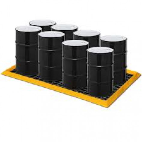 "60 Gal 8-Drum SpillNEST with 4 HDPE Grates, 57.5"" x 108.5""-Yellow"