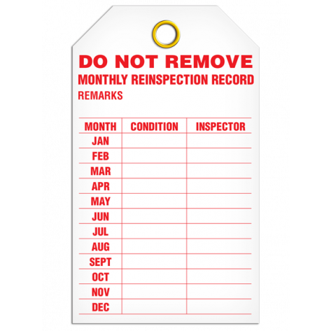 Monthly Inspection Record Tag  (25/pkg)