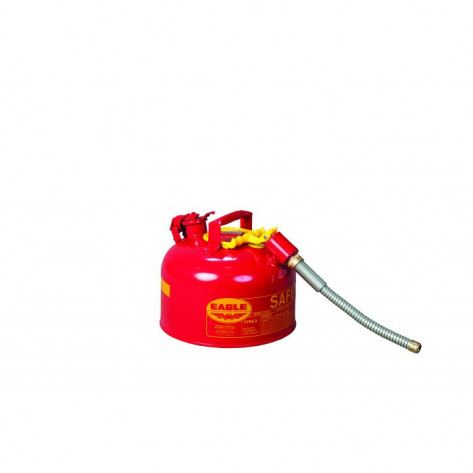 """Type II Steel Safety Can For Flammables, 2.5 Gallon, 5/8"""" Metal Hose, Red"""