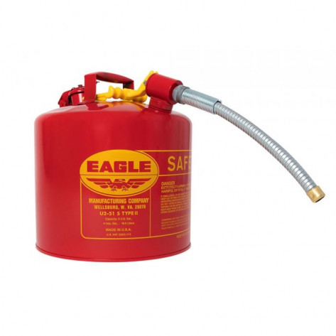 "Type II Steel Safety Can For Flammables, 5 Gallon, 5/8"" Metal Hose, Red"