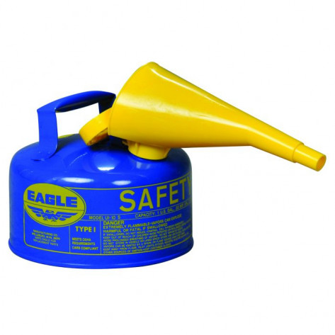 Type I Steel Safety Can For Kerosene, 1 Gallon, With Funnel, Flame Arrester, Blue