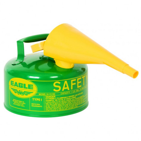 Type I Steel Safety Can For Combustibles, 1 Gallon, With Funnel, Arrester, Green