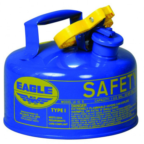 Type I Steel Safety Can For Kerosene, 1 Gallon, Flame Arrester, Blue