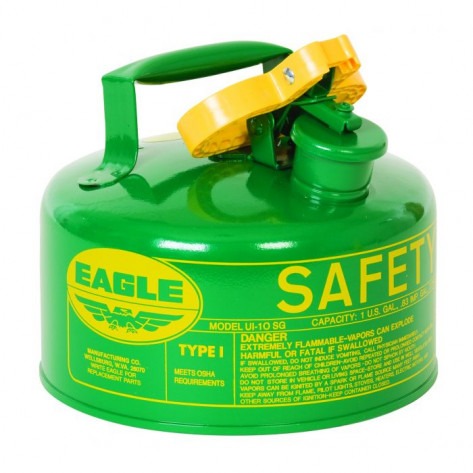 Type I Steel Safety Can For Combustibles, 1 Gallon, Flame Arrester, Green