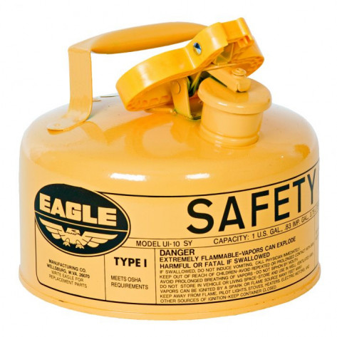 Type I Steel Safety Can For Diesel, 1 Gallon, Flame Arrester, Yellow