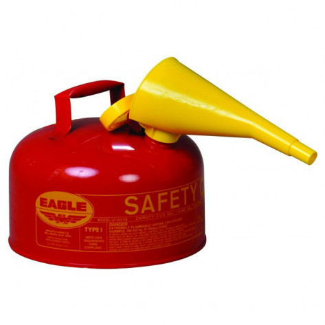 Type I Steel Safety Can For Flammables, 2 Gallon, With Funnel, Flame Arrester, Red