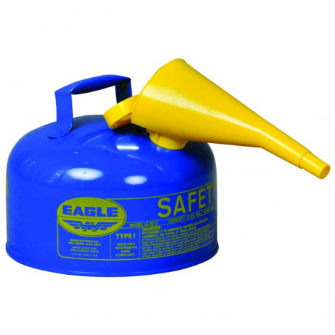 Type I Steel Safety Can For Kerosene, 2 Gallon, W/Funnel, Flame Arrester, Blue