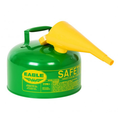 Type I Steel Safety Can For Combustibles, 2 Gallon, With Funnel, Arrester, Green