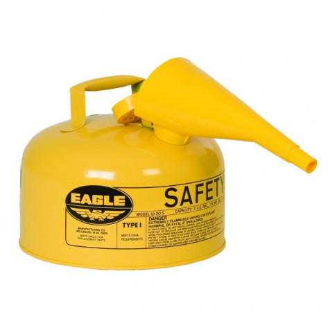 Type I Steel Safety Can For Diesel, 2 Gallon, With Funnel, Flame Arrester, Yellow