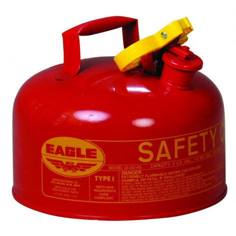 Type I Steel Safety Can For Flammables, 2 Gallon, Flame Arrester, Red