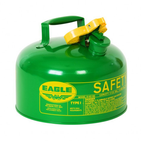 Type I Steel Safety Can For Combustibles, 2 Gallon, Flame Arrester, Green