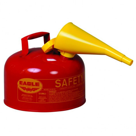 Type I Steel Safety Can For Flammables, 2.5 Gallon, With Funnel, Flame Arrester, Red
