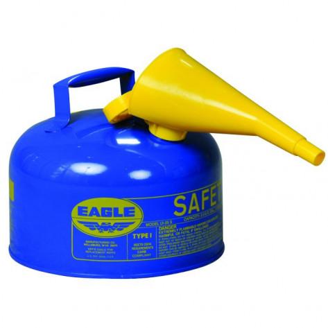 Type I Steel Safety Can For Kerosene, 2 Gallon, Flame Arrester, Blue