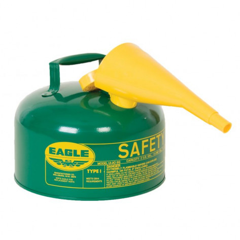 Type I Steel Safety Can For Combustibles, 2.5 Gallon, With Funnel, Arrester, Green