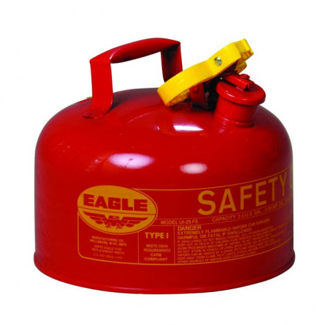 Type I Steel Safety Can For Flammables, 2.5 Gallon, Flame Arrester, Red