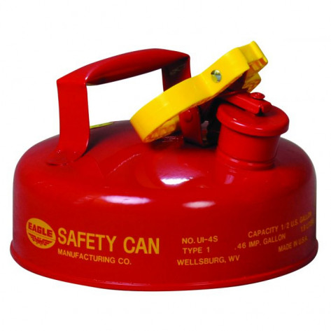 Type I Steel Safety Can For Flammables, 2 Quart, With Funnel, Flame Arrester, Red