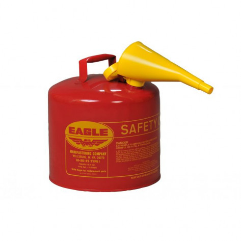 Type I Steel Safety Can For Flammables, 5 Gallon, With Funnel, Flame Arrester, Red