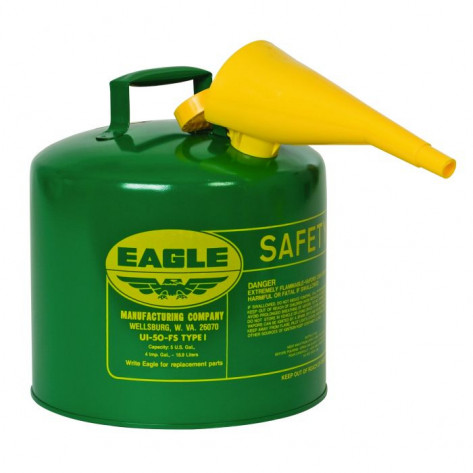 Type I Steel Safety Can For Combustibles, 5 Gallon, With Funnel, Arrester, Green