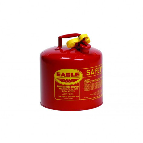 Type I Steel Safety Can For Flammables, 5 Gallon, Flame Arrester, Red