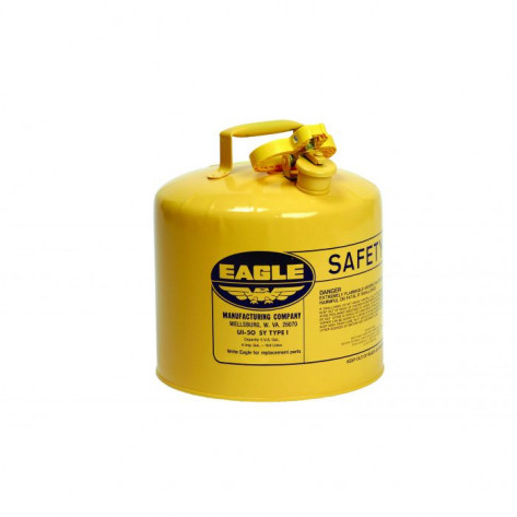 Type I Steel Safety Can For Diesel, 5 Gallon, Flame Arrester, Yellow