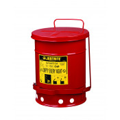 Oily Waste Can, 6 gallon, foot-operated self-closing cover, Red.