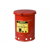Oily Waste Can, 6 gallon, hand-operated cover, Red.