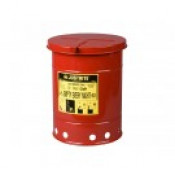 Oily Waste Can, 10 gallon, hand-operated cover, Red.