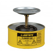 Plunger Dispensing Can, 1 quart, perforated pan screen serves as flame arrester, Steel, Yellow.