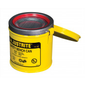 Bench Can to clean small parts in solvents, 1 litre, plated steel dasher, hinged cover, Steel, Yellow.