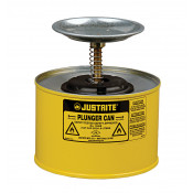 Plunger Dispensing Can, 2 quart, perforated pan screen serves as flame arrester, Steel, Yellow.